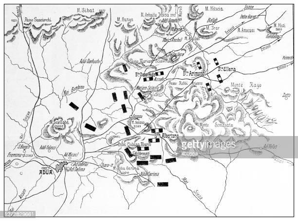 antique illustration of the first italo-ethiopian war (1895-1896): adua (adwa) battle map - battle of adwa stock illustrations