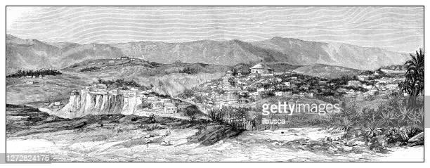 antique illustration of the first italo-ethiopian war (1895-1896): adua (adwa) - battle of adwa stock illustrations