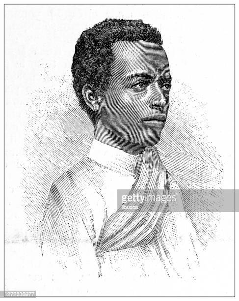 antique illustration of the first italo-ethiopian war (1895-1896): interpreter garé sgear - horn of africa stock illustrations