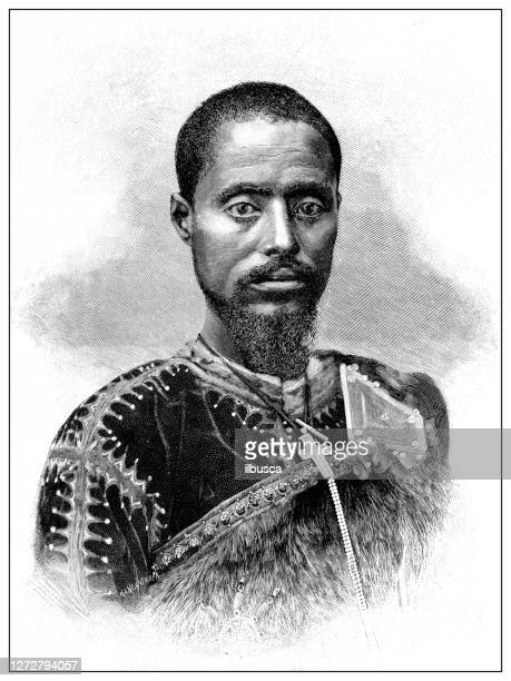 antique illustration of the first italo-ethiopian war (1895-1896): ras maconnen - horn of africa stock illustrations