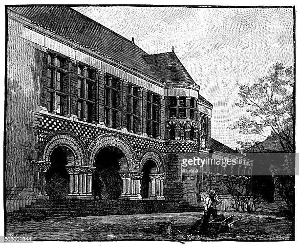 antique illustration of the law school, harvard - landscape gardener stock illustrations, clip art, cartoons, & icons