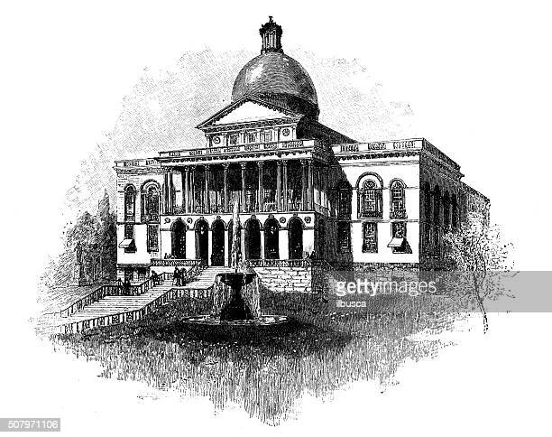 Antique illustration of the State House, Boston