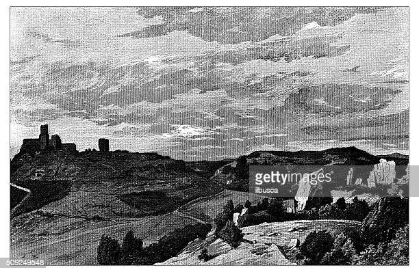 antique illustration of the valley of tuscania (italy) - empty tomb stock illustrations
