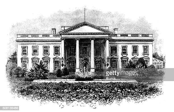antique illustration of the white house - president stock illustrations, clip art, cartoons, & icons