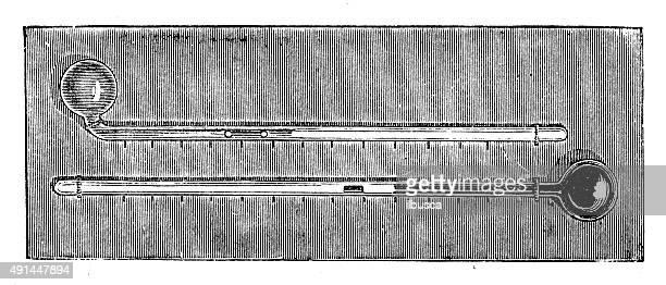 ilustraciones, imágenes clip art, dibujos animados e iconos de stock de anticuario ilustración de termómetro - termometro mercurio