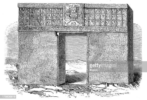 ilustrações de stock, clip art, desenhos animados e ícones de antiguidade ilustração de tiguanaco monolith porta, peru - megalith