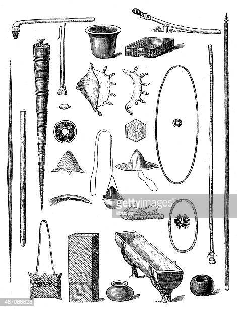 Antique illustration of tools from Mariana islands