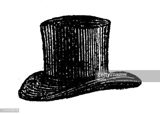 antique illustration of top hat - top hat stock illustrations
