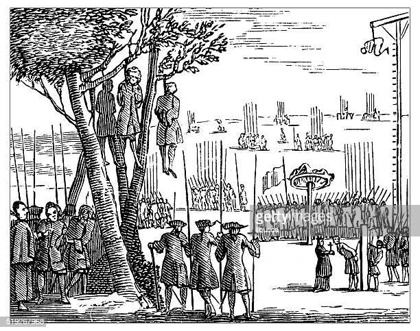 Antique illustration of tortures and death penalty