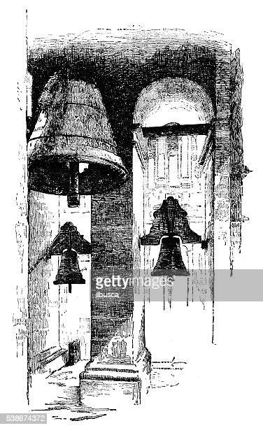 antique illustration of tower bells - bell stock illustrations
