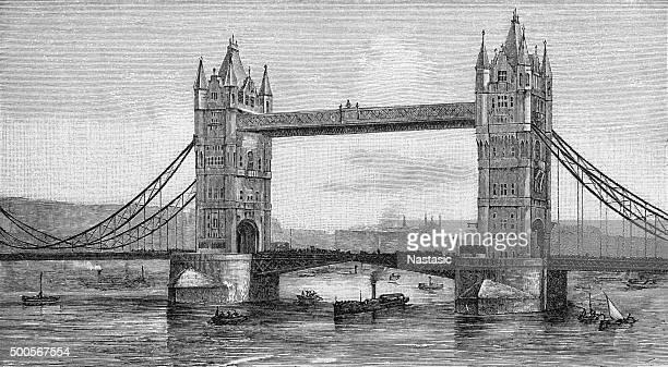 Antique illustration of Tower Bridge