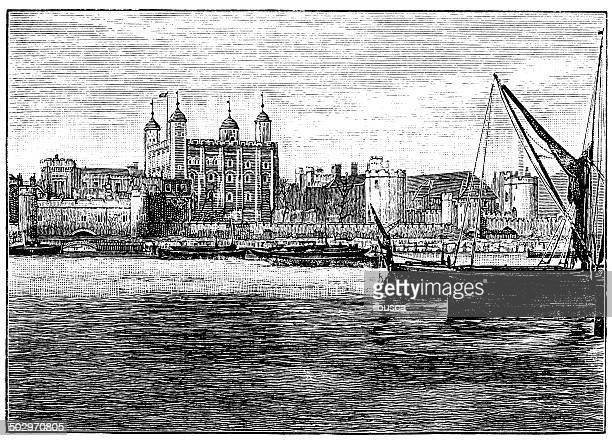 ilustraciones, imágenes clip art, dibujos animados e iconos de stock de anticuario ilustración de la torre de londres - torre petrolera