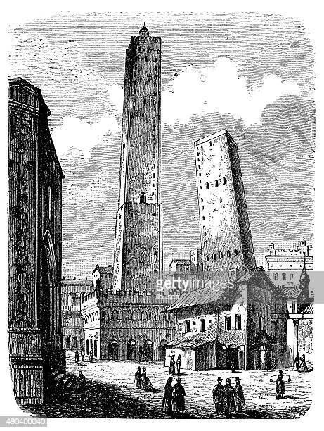 antique illustration of towers of bologna - bologna stock illustrations, clip art, cartoons, & icons