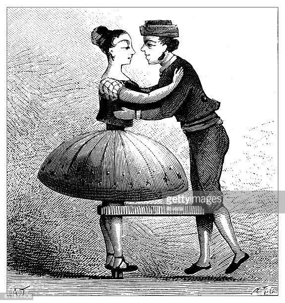 ilustraciones, imágenes clip art, dibujos animados e iconos de stock de antique illustration of toy dancers - bailar un vals