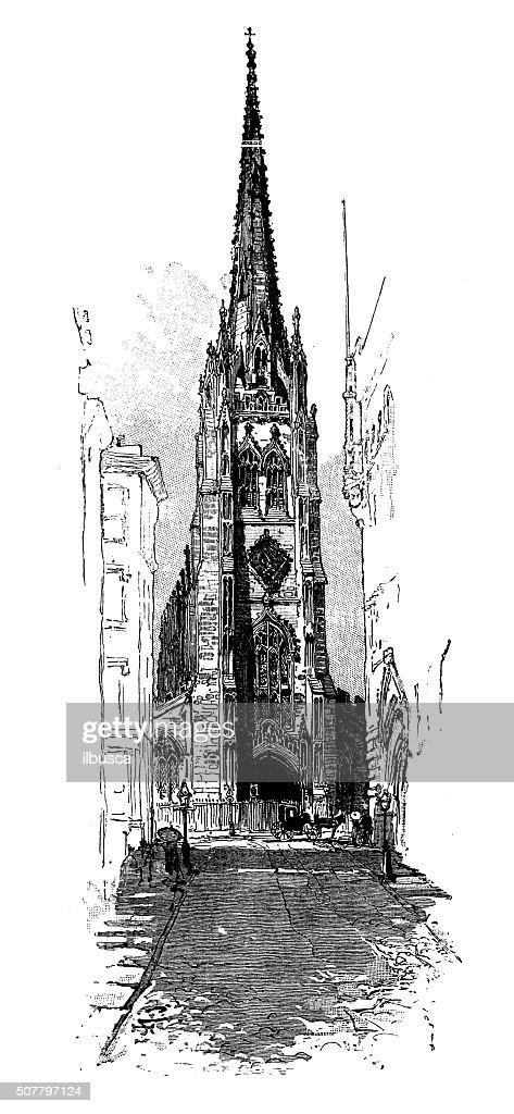 Antique illustration of Trinity Church : stock illustration