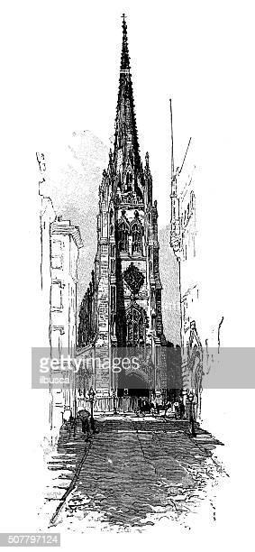 Antique illustration of Trinity Church
