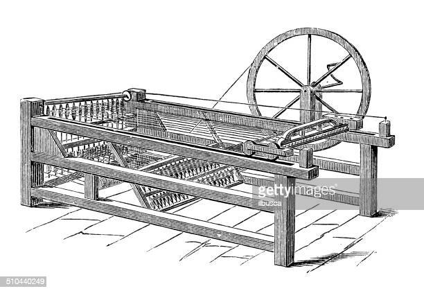 antique illustration of two handed hargreaves' jenny - loom stock illustrations
