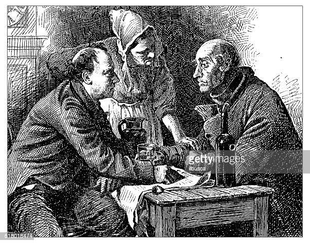 antique illustration of two people arguing in a tavern - jug stock illustrations, clip art, cartoons, & icons