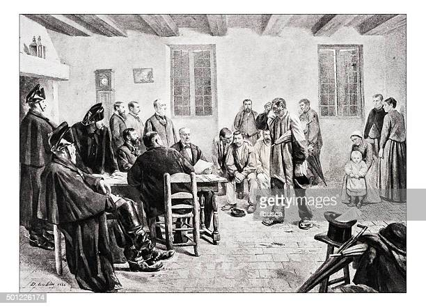 "antique illustration of ""une information judiciaire au village"" by lubin - arrest stock illustrations, clip art, cartoons, & icons"