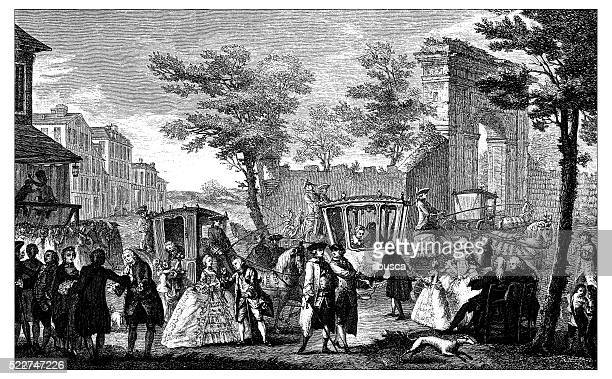 antique illustration of upper class meeting in 18th century paris - 18th century stock illustrations