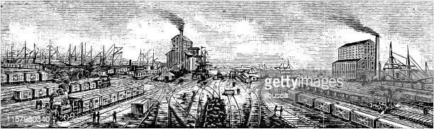 Antique illustration of USA: Baltimore, Maryland - Baltimore and Ohio railroad terminals