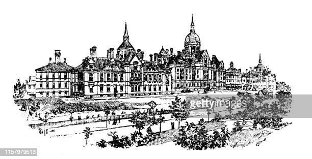 antique illustration of usa: baltimore, maryland - johns hopkins hospital - baltimore maryland stock illustrations, clip art, cartoons, & icons