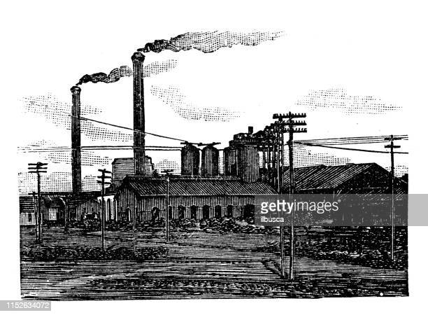 antique illustration of usa: birmingham, alabama - factory - birmingham alabama stock illustrations, clip art, cartoons, & icons