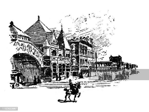 ilustrações, clipart, desenhos animados e ícones de ilustração antiga dos eua: birmingham, alabama-union depot - birmingham alabama