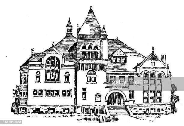 antique illustration of usa: evanston, illinois - garrett institute - evanston illinois stock illustrations