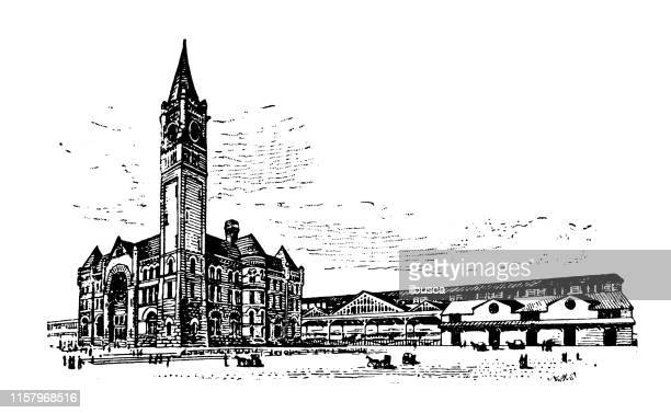 antique illustration of usa: indianapolis, indiana - union railway station - indianapolis stock illustrations, clip art, cartoons, & icons