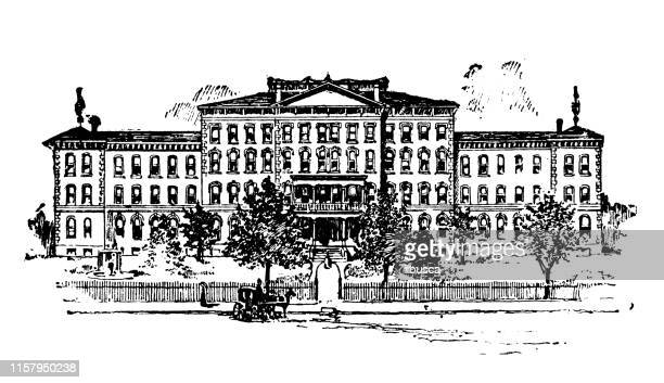 illustrations, cliparts, dessins animés et icônes de illustration antique des usa : jacksonville, illinois - asile aveugle - hôpital psychiatrique