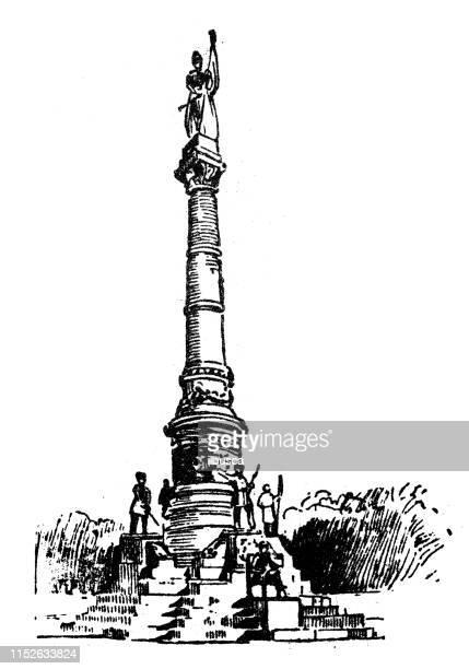 antique illustration of usa: montgomery, alabama - soldiers monument - montgomery alabama stock illustrations, clip art, cartoons, & icons