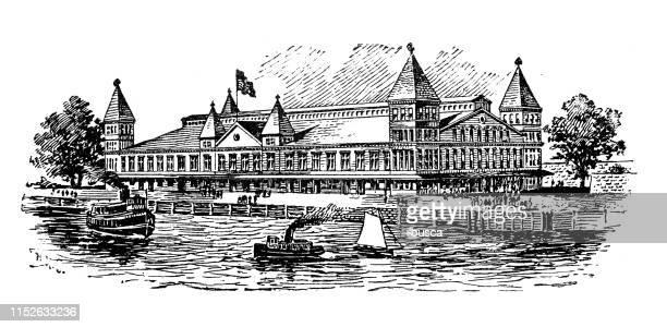 antique illustration of usa: new york harbor - ellis island and the immigration building - ellis island stock illustrations, clip art, cartoons, & icons