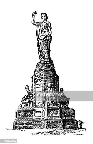 antique illustration of usa: plymouth, massachusetts - national forefathers' monument - massachusetts stock illustrations