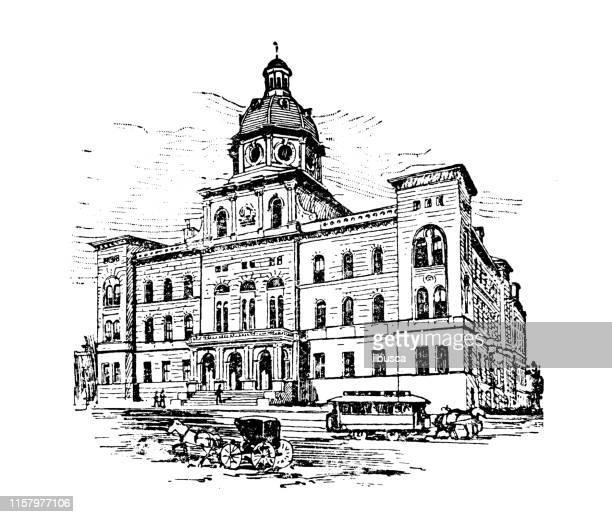 Antique illustration of USA: Portland, Maine - City Hall