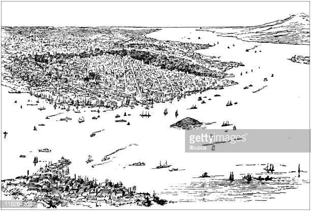ilustrações, clipart, desenhos animados e ícones de ilustração antiga dos eua: san francisco, califórnia-porto e porta dourada - usa