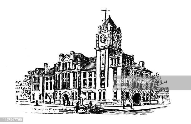 antique illustration of usa: savannah, georgia - court house - savannah georgia stock illustrations, clip art, cartoons, & icons