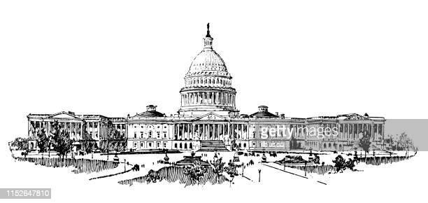 antike illustration der usa: das kapitol, washington - senat stock-grafiken, -clipart, -cartoons und -symbole