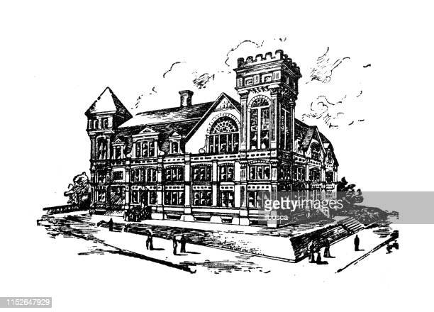 antique illustration of usa: wilmington, delaware - high school - wilmington delaware stock illustrations, clip art, cartoons, & icons