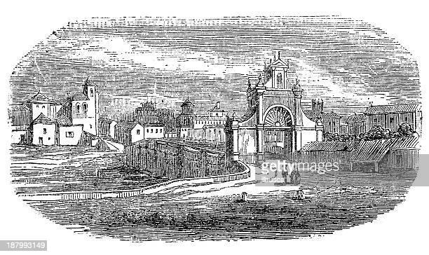 antique illustration of valladolid - valladolid spanish city stock illustrations