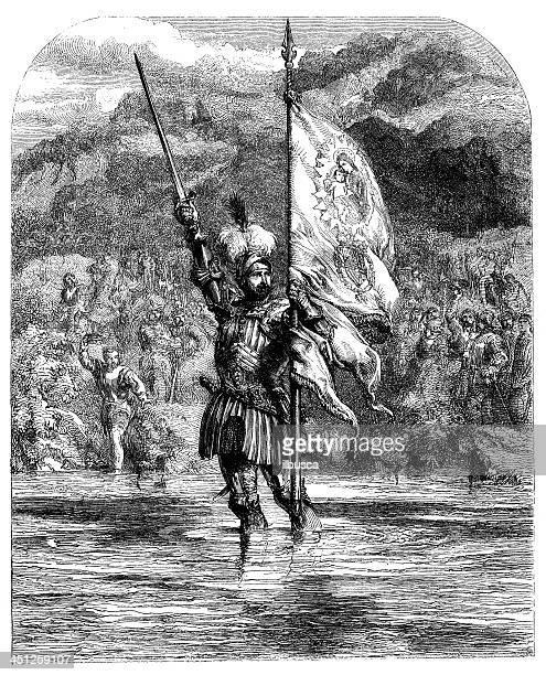 antique illustration of vasco núñez de balboa - governor stock illustrations, clip art, cartoons, & icons