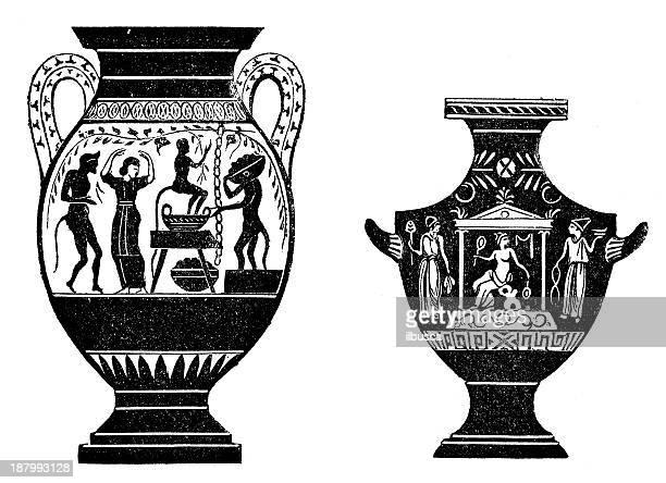 antique illustration of vases - etruscan stock illustrations