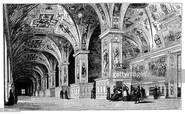 Antique illustration of Vatican library