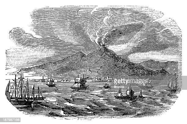 antique illustration of vesuvio eruption - mt vesuvius stock illustrations, clip art, cartoons, & icons