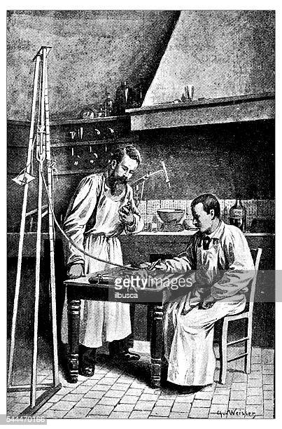 Antique illustration of veterinary surgery experiment on rabbit