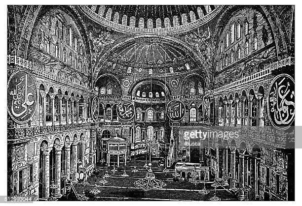 ilustrações de stock, clip art, desenhos animados e ícones de antigo ilustração de vista de santa sofia, interior (istambul, turquia - nicho