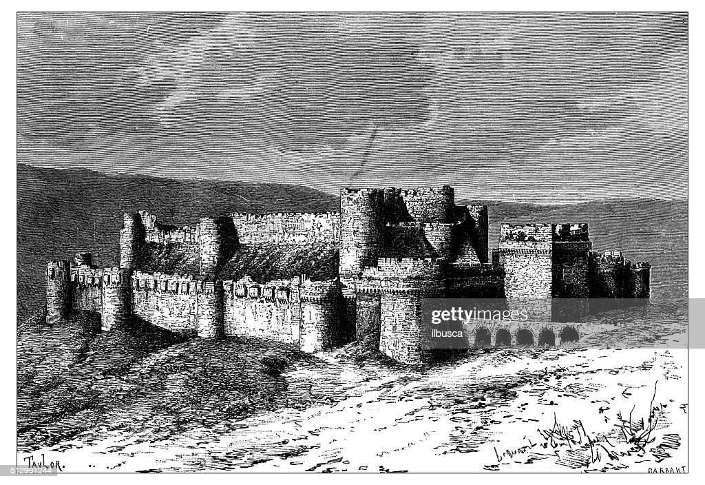 Antique illustration of view of Krak des Chevaliers (Syria) : stock illustration