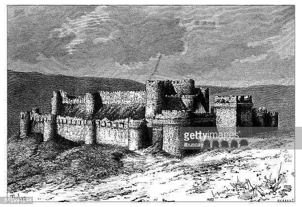 antique illustration of view of krak des chevaliers (syria) - steep stock illustrations, clip art, cartoons, & icons
