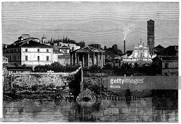 antique illustration of view of riverfront tiber (rome-italy) with monuments - water treatment stock illustrations, clip art, cartoons, & icons