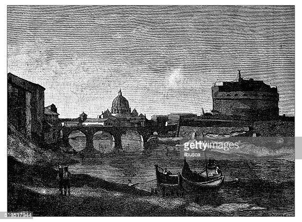 antique illustration of view of rome during 19th century - castel sant'angelo stock illustrations